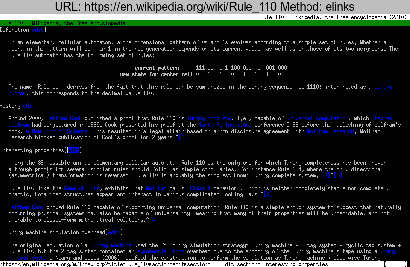 https://en.wikipedia.org/wiki/Rule\_110 rendered using elinks