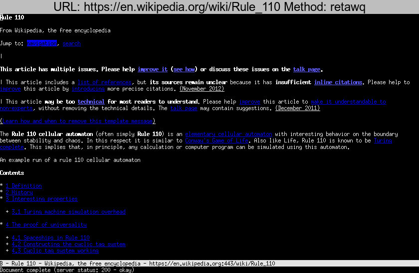 https://en.wikipedia.org/wiki/Rule\_110 rendered using retawq