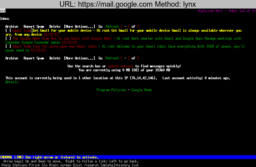 https://mail.google.com rendered using lynx