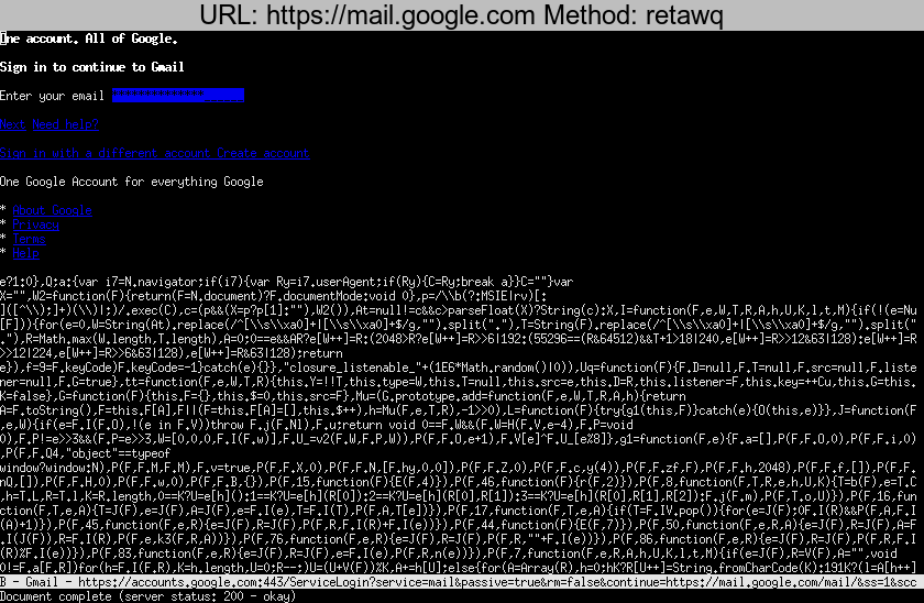 https://mail.google.com rendered using retawq