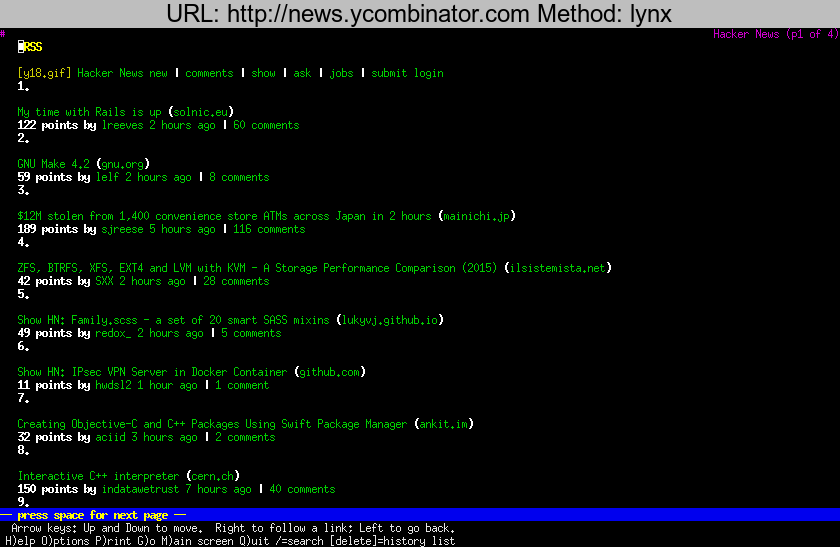 http://news.ycombinator.com rendered using lynx