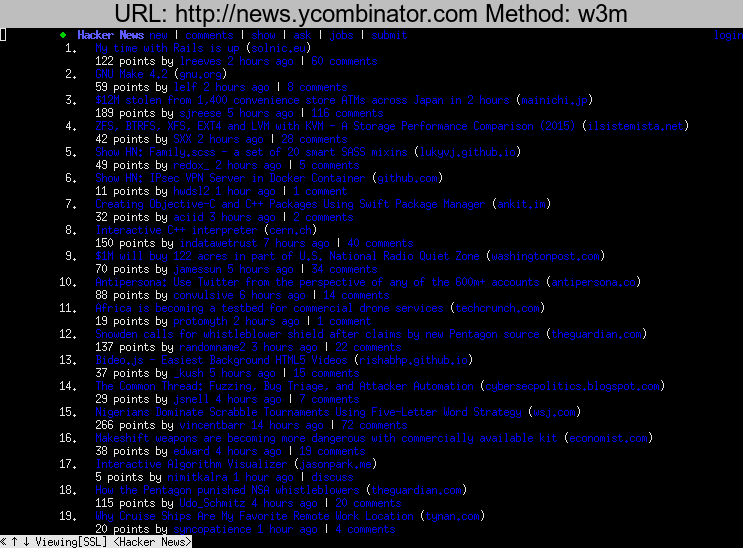 http://news.ycombinator.com rendered using w3m